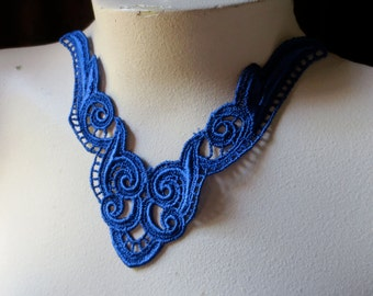 Blue Lace Applique Sapphire Cobalt Blue for Lyrical Dance, Jewelry, Garments, Costume Design CA 123cb
