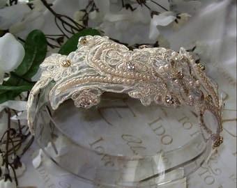 Sale,Lace Wedding Headband,Wedding Headband,Rhinestone Headband,Bridal Fascinator,Wedding Accessories,Bridal Lace Headband,Bridal Headband