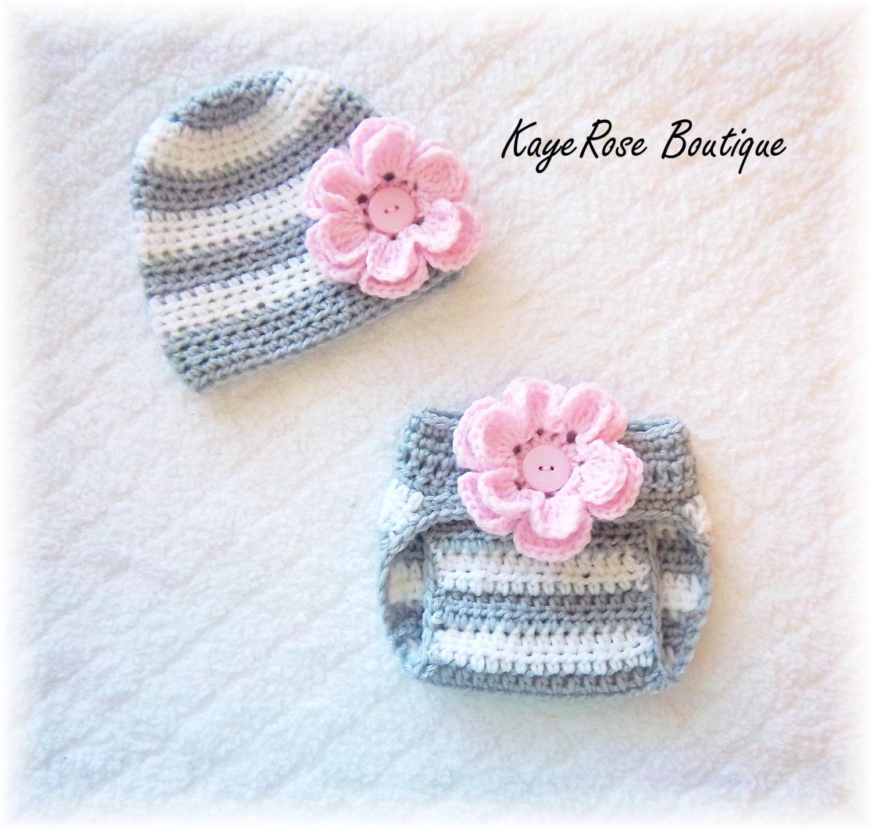 Crochet Flower Shirt Pattern : Newborn Baby Girl Crochet Flower Hat & Diaper Cover Set Pink