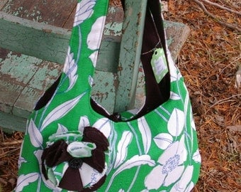 Sherri's Reversible  Purse - black- Green Floral
