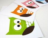 Owl Cards, Owl Greeting Cards, Bird Cards, Owl Blank Cards, Woodland Creature - (set of 8)