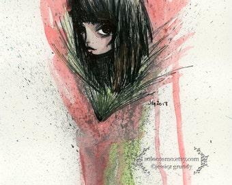 "Fine Art Print ""Flower"" 8.5x11 or 8x10 Premium Giclee Print - Watercolor Print by Jessica von Braun - Woman - Green Red"