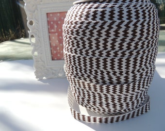 "5 Yards of 5/8"" Chevron Printed Fold Over Elastics FOE - Brown and White"