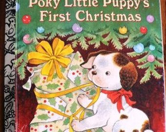 vintage childrens book... The POKY Little PUPPYs First Christmas GOLDEN Book hardcover Book ...