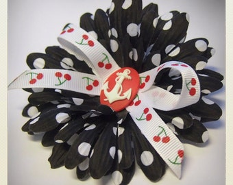 Pin Up-style black polka dot Hair flower with cherries and anchor