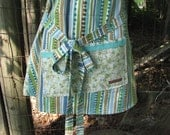 Rows in my Garden Apron - adult size - full apron - blue green brown - by Happy Campers of the South (APR148)