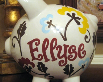 Sophisticated Flowers Personalized Piggy Bank-Size Large
