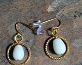 Milk Glass DROP earrings, Hand crafted
