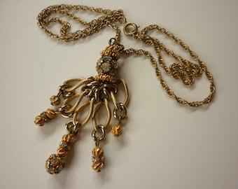 1970s Golden Tassel Necklace w Rhinestones Disco CHIC