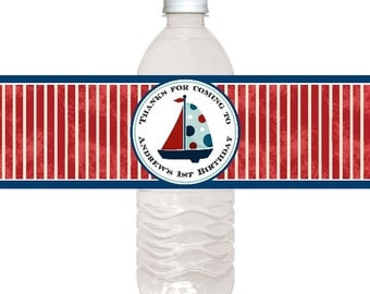Custom Water Bottle Labels, Nautical Water Bottle Labels, Ocean Party Water Bottle Labels, Fit on 16.9 oz water bottles