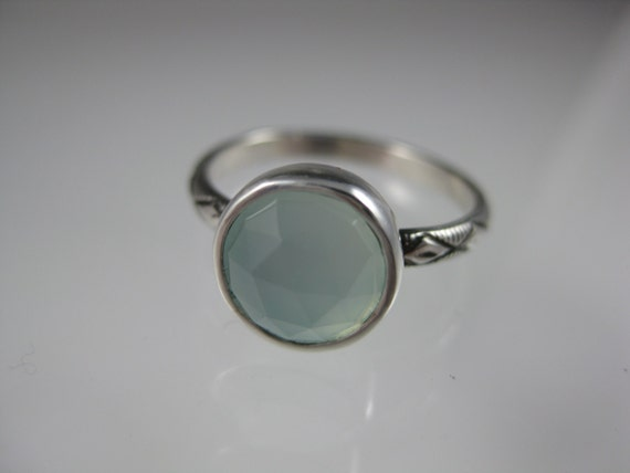 single silver stacking ring with faceted aqua chalcedony or stone of your choice, birthstone ring, gemstone stacking ring, stacking ring