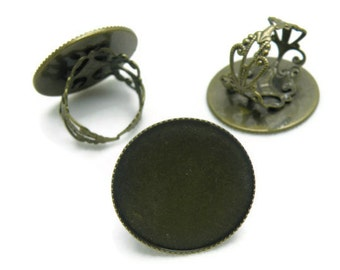 Ring Blanks -- 10pcs Adjustable Antique Bronze Ring Base 25mm pad H31--20% OFF