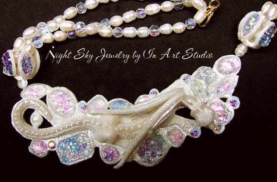 Dragon Necklace - AB Crystals - White Pearl Dragon Jewelry - Fantasy Spring Summer Wedding Jewelry