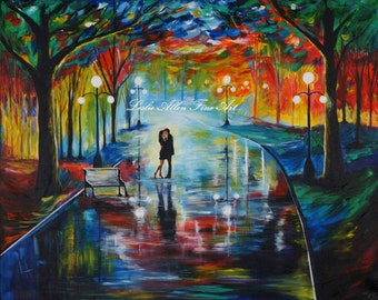 "Couple Painting Art Print Couples Giclee Art Print Girlfriend Boyfriend Wall Art  In Love ""Your Love"" Leslie Allen Fine Art"