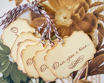Wedding Wish Tree Tags Once Upon A Time Gift Tags Vintage Style Princess Party Favor Treat Bag Tags TL003