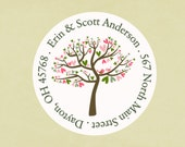 Return address labels, stickers, tags, envelope seals, round--Spring love tree