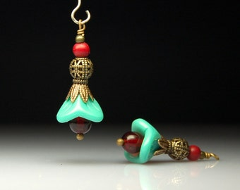 Vintage Style Bead Dangles Turquoise Green Glass Flowers Pair G29