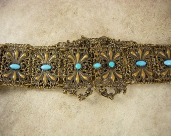 Antique RARE Gilt Turquoise Stunning BELT VICTORIAN Ornate detail