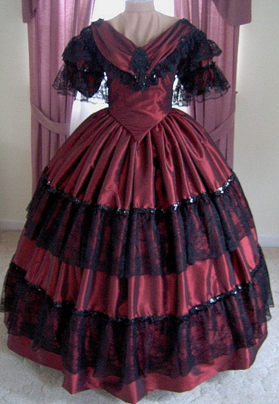 Victorian Dresses | Victorian Ballgowns | Victorian Clothing 1800s Victorian Dress - 1860s Evening Ball Gown - Wedding Bridal Formal Reenactor Dance Costume $500.00 AT vintagedancer.com