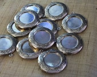 SALE - 10 Imperfect Hand Rubbed Antique Silver Round Lockets 32mm - 10pcs