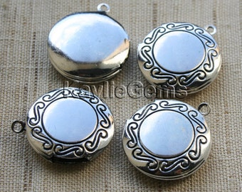 Round Locket Charm Pendant Hand Touched Antique Silver Antique Style Victorian - LKRS-124AB - 4pcs