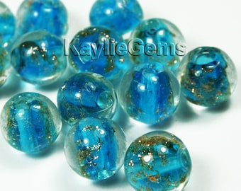 12mm Round Lampwork Beads Gold Sand Aqua Blue-12pcs