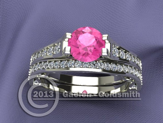 Custom Made Bridal Set with Diamond Accents and Pink Sapphire