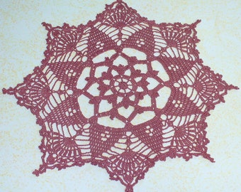 Delicate Dusty Rose Doily - ready to ship - crocheted