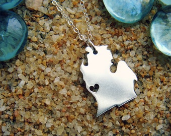 Michigan Sterling Necklace Personalize the Location of the Heart over the City of Your Choice