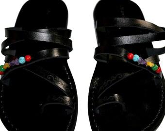 Black Decor Buckle-free Leather Sandals For Men & Women - Handmade Unisex Sandals, Flip Flop Sandals, Jesus Sandals, Genuine Leather Sandals