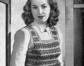 1940's Fair Isle Pullover Vintage Knitting Pattern 230