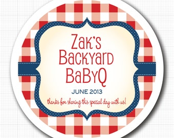 Gingham Frame Personalized Stickers, Jar Labels or Tags