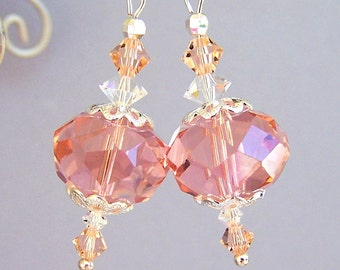 Peachy pink earrings, faceted glass and crystal, light rose bridal earrings