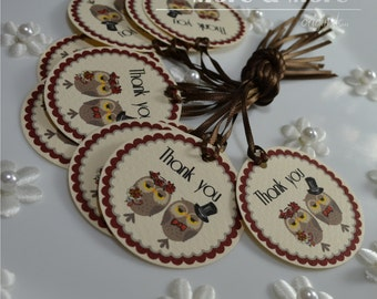 Owl Theme Personalized 1.75inch Circle Tags - Set of 100 - Weddings - Bridal Shower - Thank You - Favor Tag
