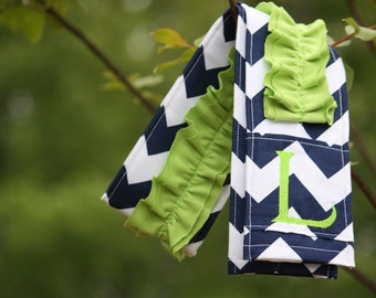 Monogrammed Ruffled Camera Strap Cover - Navy Chevron/ Lime