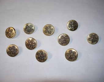 10 Fancy, Gold & Black, Shank Buttons,  Lot 2322 (Free US Shipping)
