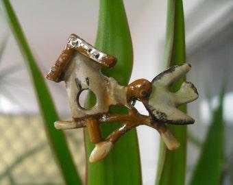 Vintage Tiny Bird and Birdhouse Pin Brooch Costume Jewelry