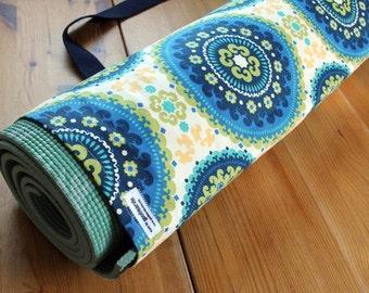 Handmade Yoga Bag in Tribal Print - Blue, Green and Yellow Medallions