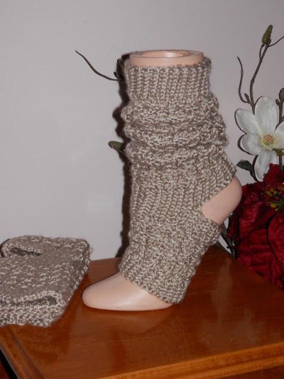 Slouch Socks Knitting Pattern : Items similar to Hand Knitted Tan Slouch Yoga Dance Socks on Etsy