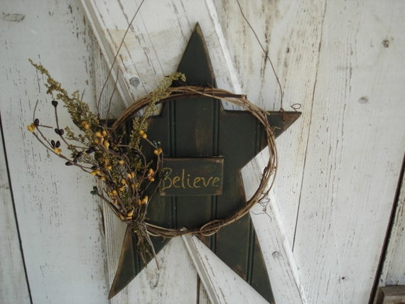 Primitive Believe Star Door Hanger, Primitive, Rustic, Home Decor