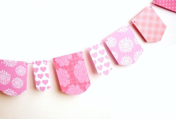 Pink banner paper garland home decor ornament