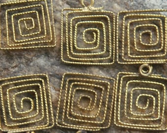 12 Vintage brass ultra cool wrapped squares
