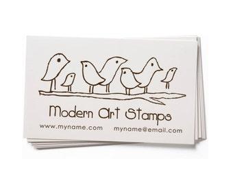 Business Card Stamp   Custom Rubber Stamp   Custom Stamp   Personalized Stamp   Birds on Branch Stamp   Bird Stamp   BC23
