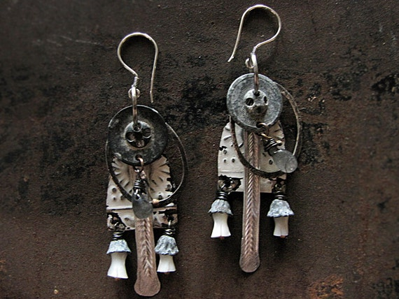 Sagittarius - white assembalge earrings - tribal sci fi - salvaged vintage tin - eco friendly