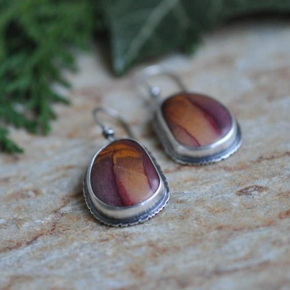 Mookaite Earrings in Oxidised Sterling Silver - Ruffle Earrings in Mookaite