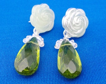 SALE Green Crystal Drop Flower Post Earrings, Stylish Dangle Earrings, Sparkly Earrings, Unique Gift Ideas for Her, Handmade by m2designs