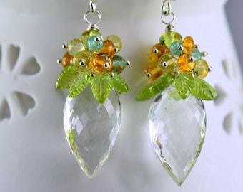Peridot Citrine Apatite Rock Crystal Gemstone Dangle Earrings Sterling Silver Wire Wrapped Earrings,Tropical Breeze