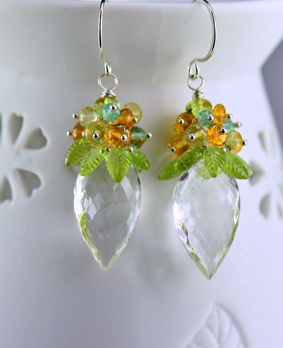 Peridot Citrine Apatite Rock Crystal Gemstone Dangle Earrings Sterling Silver Wire Wrapped Earrings,Tropical Breeze