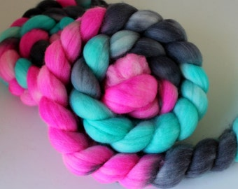Reserved 4 Jessica- Handpainted Polwarth Wool Top - Wool Roving - Spinning and Felting Fiber - 4ozs - LICORICE