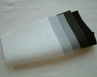 Pure Wool Felt Sheets Bundle - Monotone - Various Sizes - EN71 - Toy Making